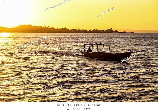Sunset in Todos los Santos Bay in Salvador de Bahia Brazil