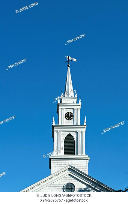 Wooden Steeple on an Old Fashioned Church, Bridgehampton, Long Island, New York