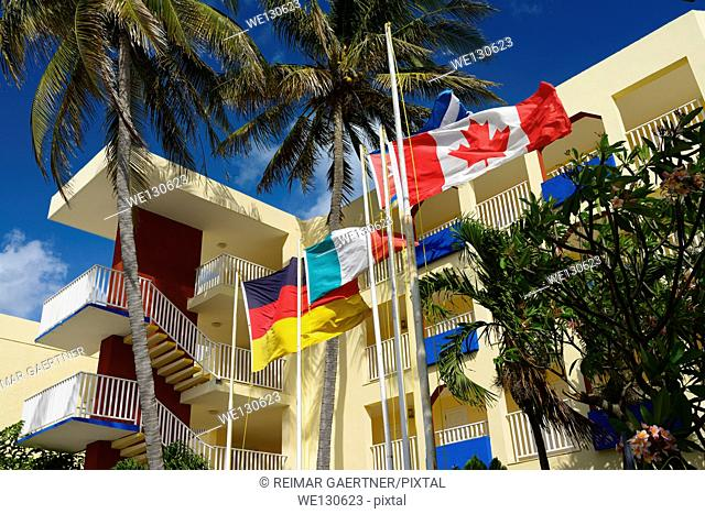 International flags at a hotel in downtown Varadero Cuba