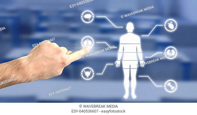 Human Body Chart and hand touching