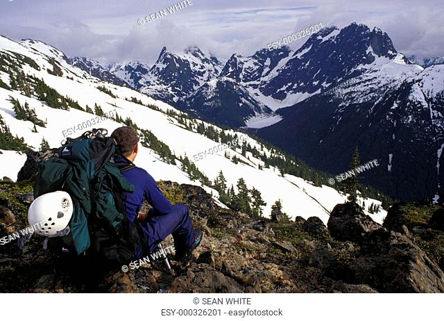 Mountaineer taking in the view