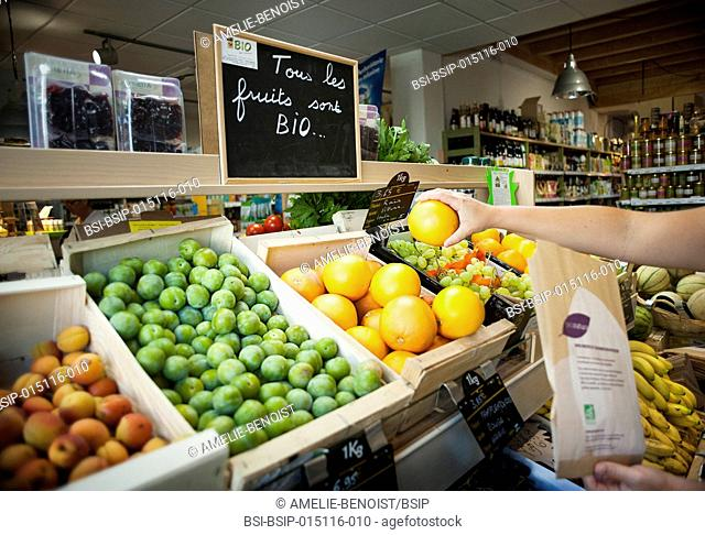 Health food shop. Organic fruit and vegetables