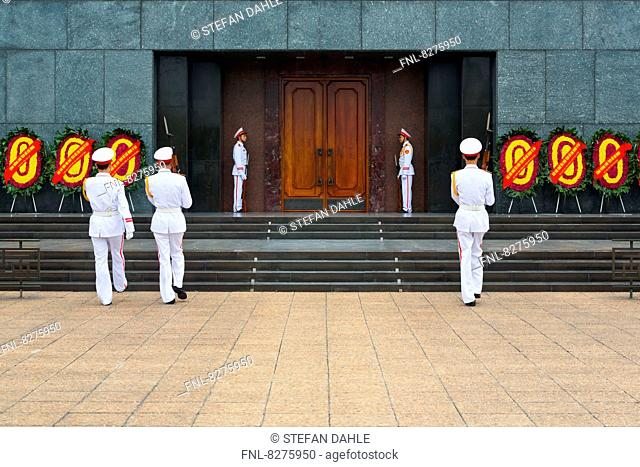 Change of the Guards at the Ho Chi Minh Mausoleum in Hanoi, Vietnam