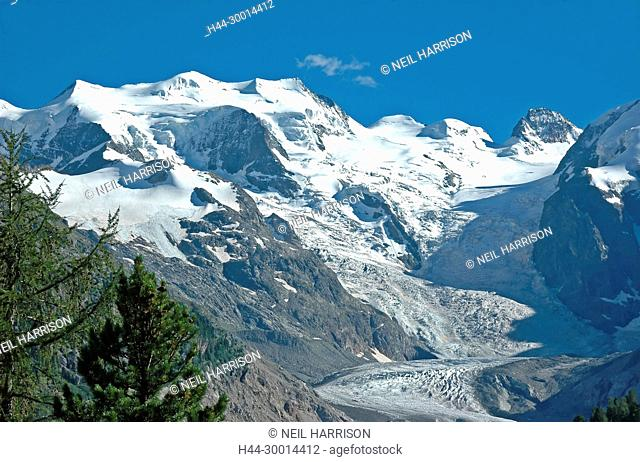 The majestic Piz Bernina in the southern Swiss Alps above St Moritz. Piz Morteratsch on the right