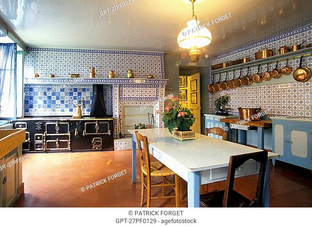 CLAUDE MONET'S KITCHEN, GIVERNY, EURE 27, NORMANDY, FRANCE