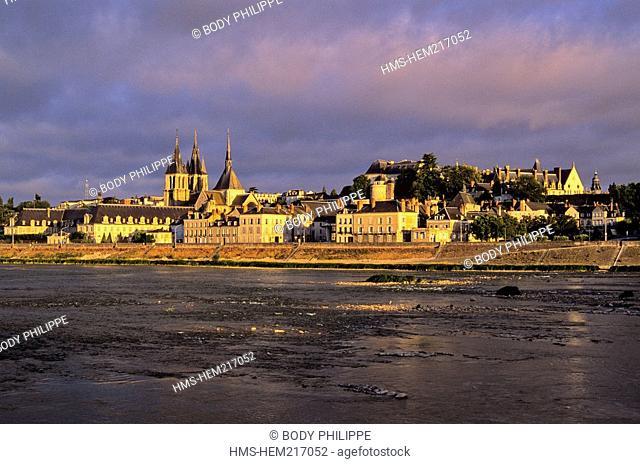 France, Loir et Cher, Loire Valley listed as World Heritage by UNESCO, the Loire in Blois, Saint-Nicolas church and château de Blois