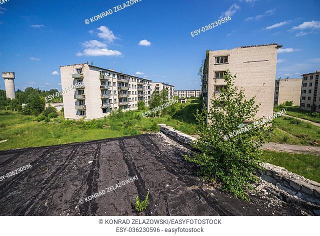 Skrunda-1 ghost town, former site of Soviet Dnepr radar station from Cold War period near Skrunda town in Latvia