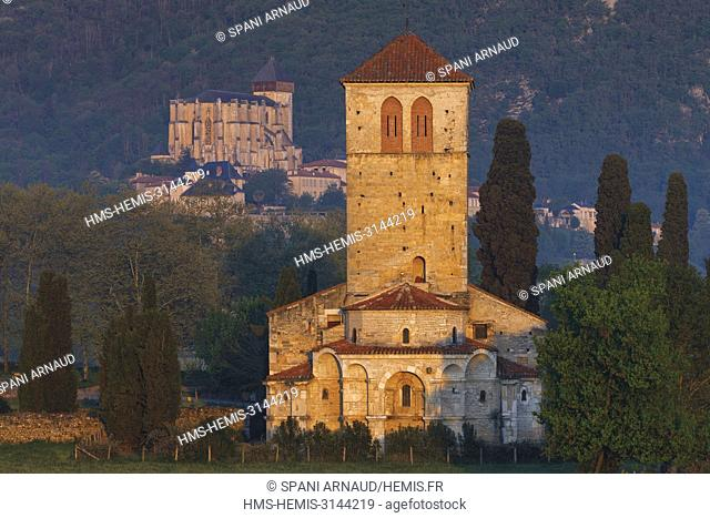 France, Haute Garonne, Comminges, Barbazan, view of Saint Just of Valcabrère Basilica and the Cathedral Saint Bertrand de Comminges
