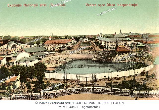 Romania - National Exhibition of 1906 - Bucharest - Independence Avenue and the Lake