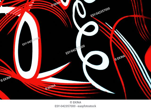 Texture, background. Silk fabric painted with an abstract pattern, black. Drawing the line color white red