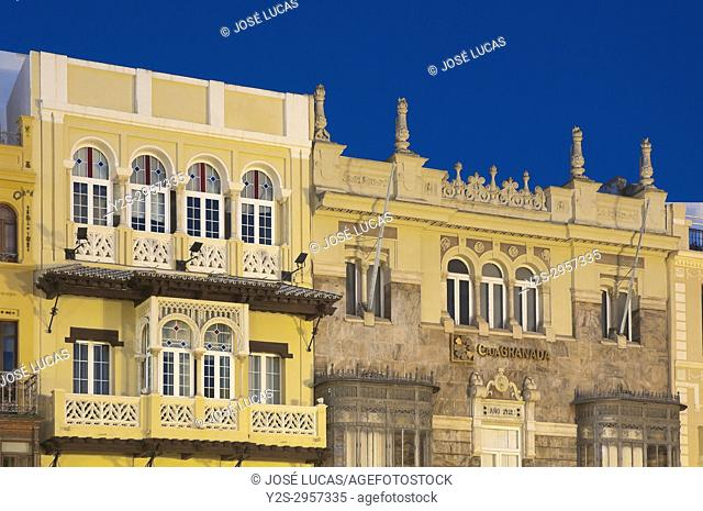 Regionalist style buildings in the Plaza de San Francisco, Seville, Region of Andalusia, Spain, Europe