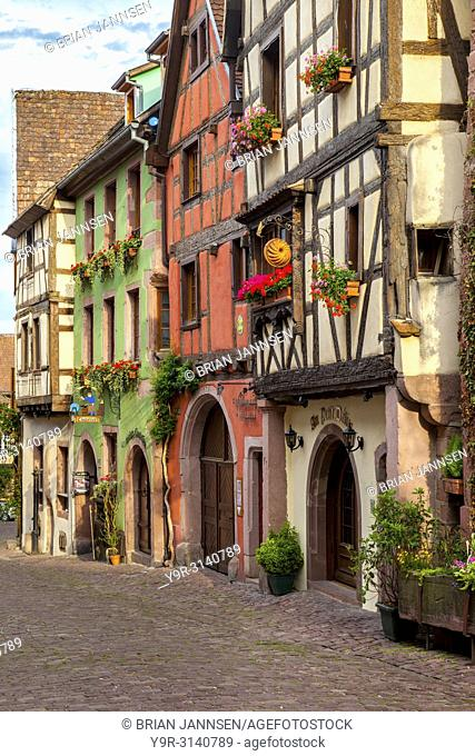 Half-Timbered buildings on Rue du General de Gaulle in Riquewihr - along the Wine Route, Alsace Haut-Rhin France