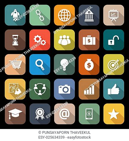 Start up line icons on black background, stock vector