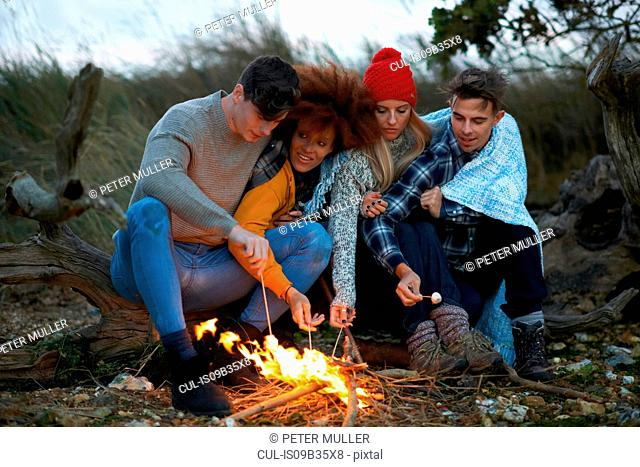 Four adult friends huddled together toasting marshmallows on beach at dusk