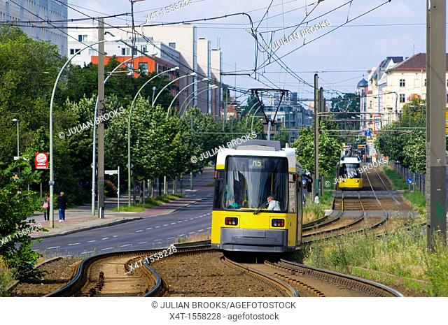 Modern trams on the streets of the former East Berlin
