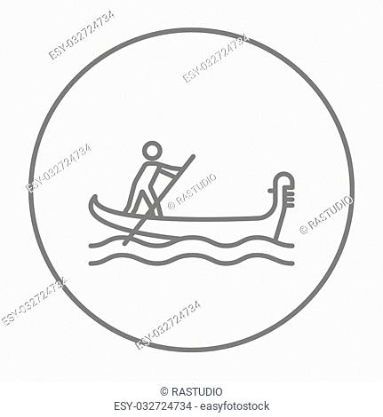 Sailor rowing a boat line icon for web, mobile and infographics. Vector grey thin line icon in the circle isolated on white background