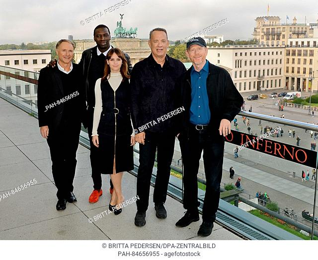 L-R: American author Dan Brown, French actor Omar Sy, British actor Felicity Jones, American actor Tom Hanks and American director Ronald William in front of...
