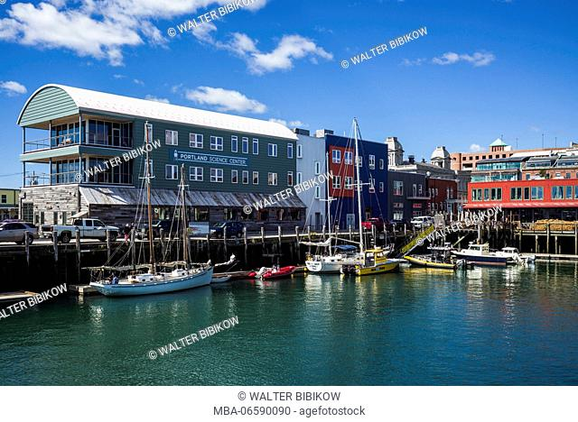 USA, Maine, Portland, waterfront and Portland Science Center