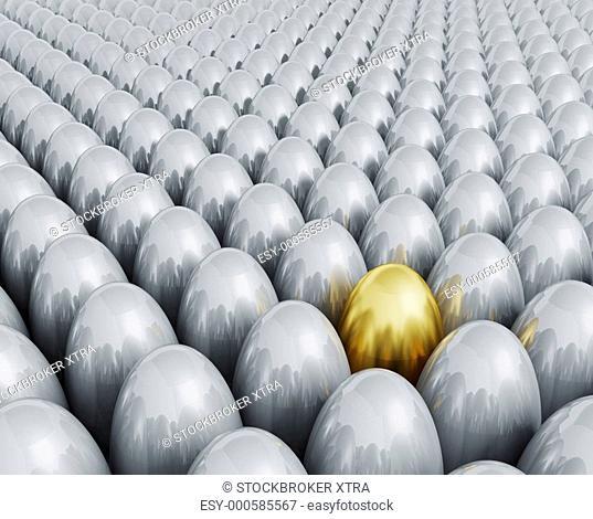 3D render of one golden egg amongst lots of silver ones