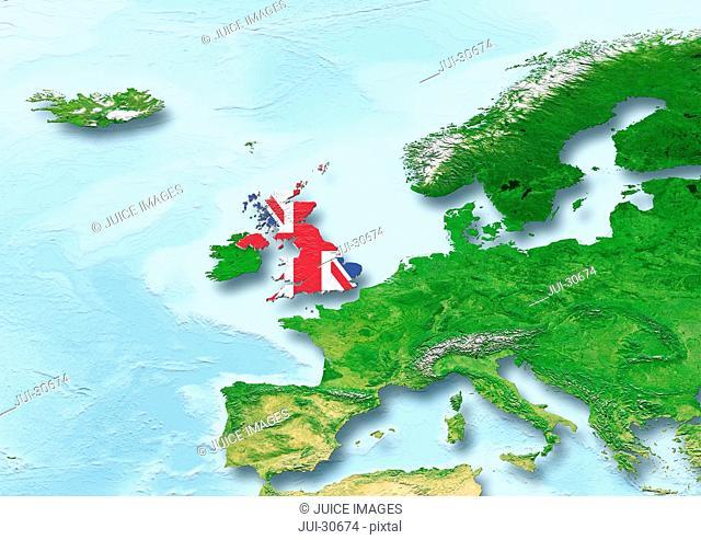 United Kingdom, U.K. Britain, flag, map, Western Europe, physical
