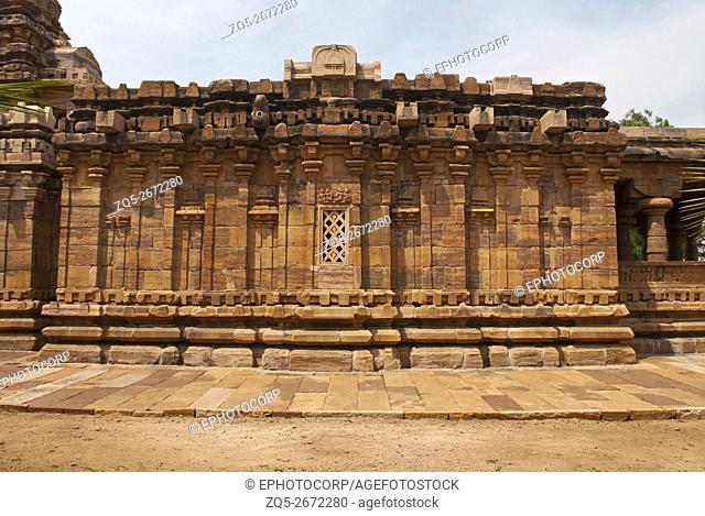 Devakoshthas and a window on the south wall. Jain temple, Jinalaya, known as Jaina Narayana, Pattadakal, Karnataka, India. South view