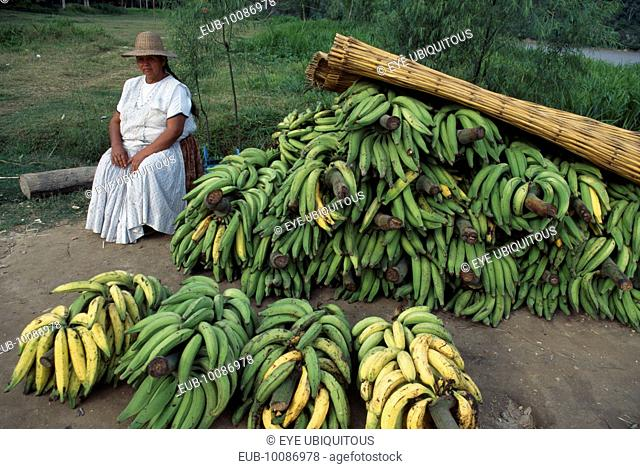 Banana vendor by roadside. Woman dressed in white wearing a hat