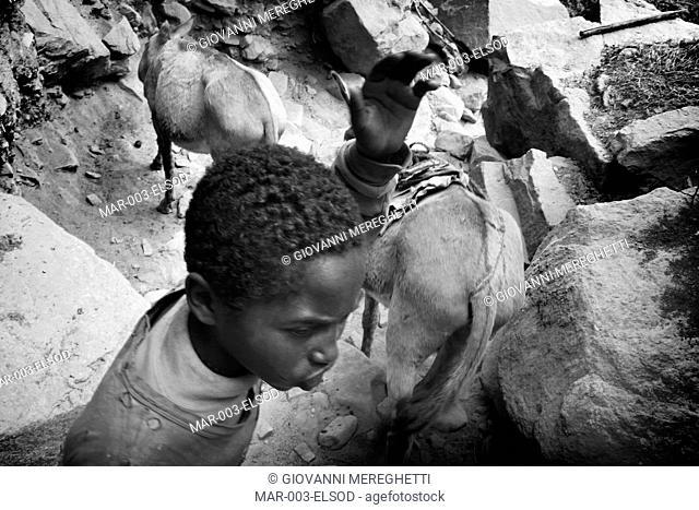 estrazione del sale dal cratere di el sod, el sod, etiopia