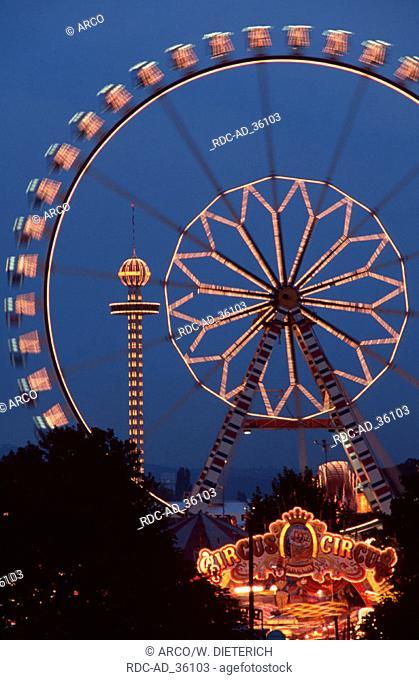 Ferris Wheel at public festival at night Cannstatt Stuttgart Baden-Wurttemberg Germany