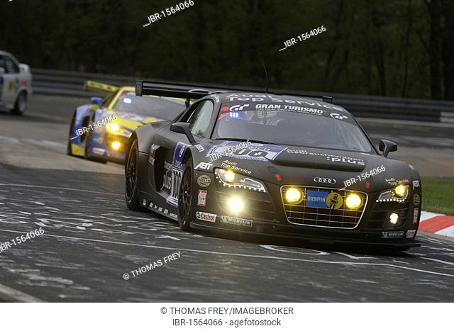 The Audi R8 LMS Team Abt Sportsline driven by Matthias Eckstroem, Oliver Jarvis, Timo Schneider and Marco Werner during the 24-hour race at the Nurburgring race...