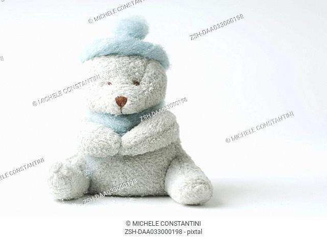 Teddy bear wearing hat, missing one eye
