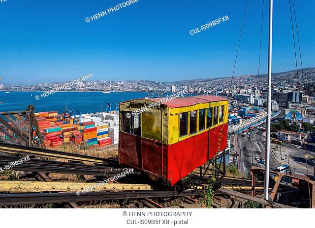 Funicular on mountainside, Valparaiso, Chile