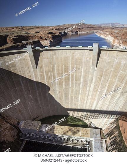 The Glen Canyon Dam provides electricl power at Lake Powell at the Glenn Canyon National Recreation Area, Arizona