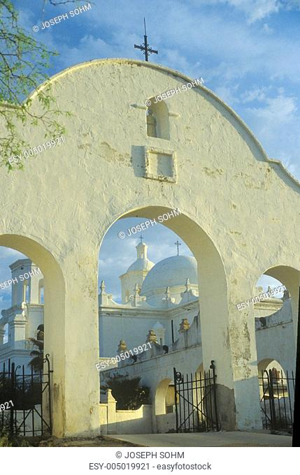 The Mission San Xavier Del Bac was erected between 1783 and 1897 in Tucson Arizona