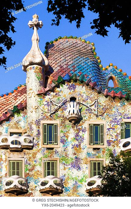 The exterior of Casa Batllo in Barcelon, Spain. Designed by reknowned architect Antoni Gaudi, ..