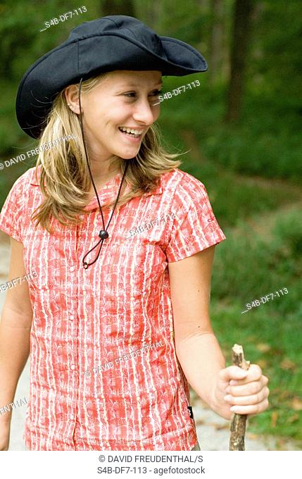 Young woman hiking, Munich, Bavaria, Germany