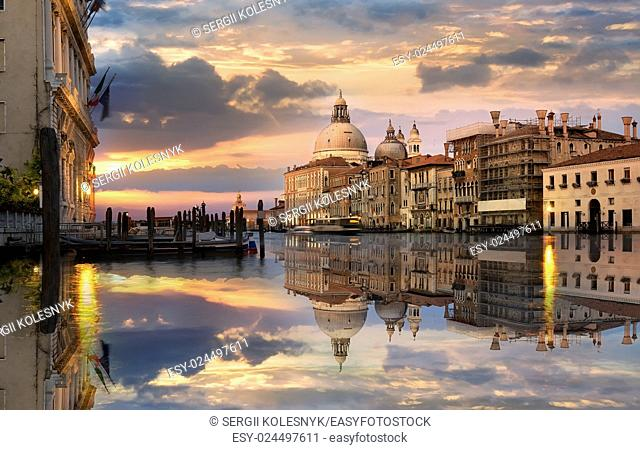 Grand Canal in Venice at the sunset