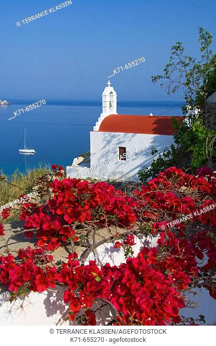 A small seaside church in Hora or Mykonos town on the Greek Island of Mykonos, Greece