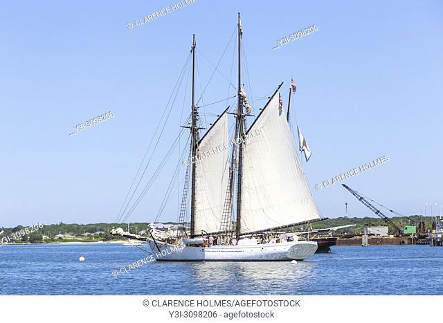 "Black Dog Tall Ships' """"Alabama"""", a historic two-masted Gloucester fishing schooner, in Vineyard Haven harbor in Tisbury, Massachusetts on Martha's Vineyard"