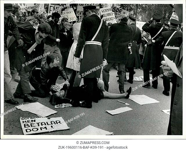 1968 - Protestor injured on ground police watch. Bankers Meeting At Hotel Foresta : Today at the hotel Foresta in Stockholm