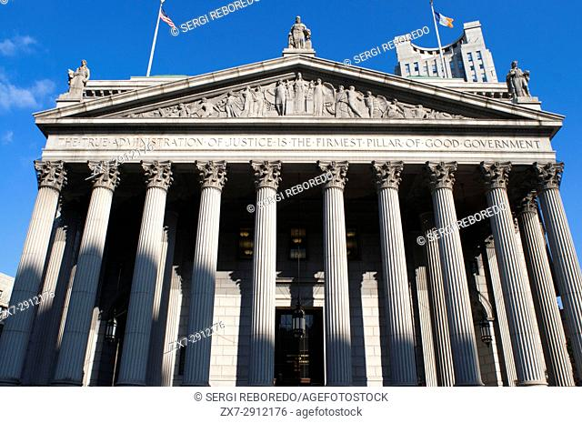 """New York State Supreme Court building in Lower Manhattan showing the words """"""""The True Administration of Justice"""""""" on its facade in Manhattan, New York, USA"""