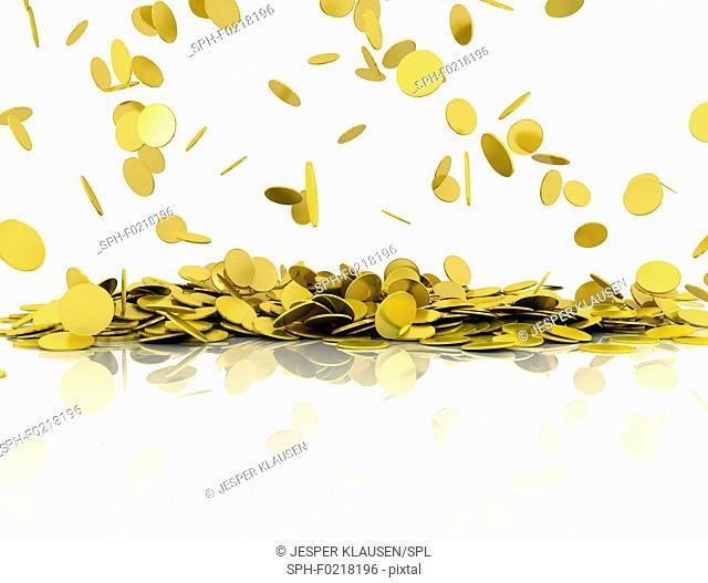Gold coins, illustration