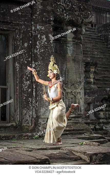 Cambodian Apsara Temple Dancer. Angkor Wat. Cambodia