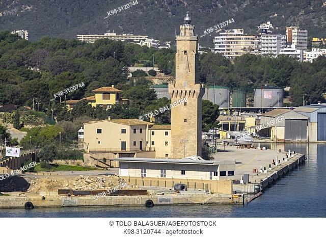 Signal Tower or Porto Pi lighthouse, XV century, declared a Historic-Artistic Monument on August 14, 1983. Palma, Mallorca, Balearic Islands, Spain