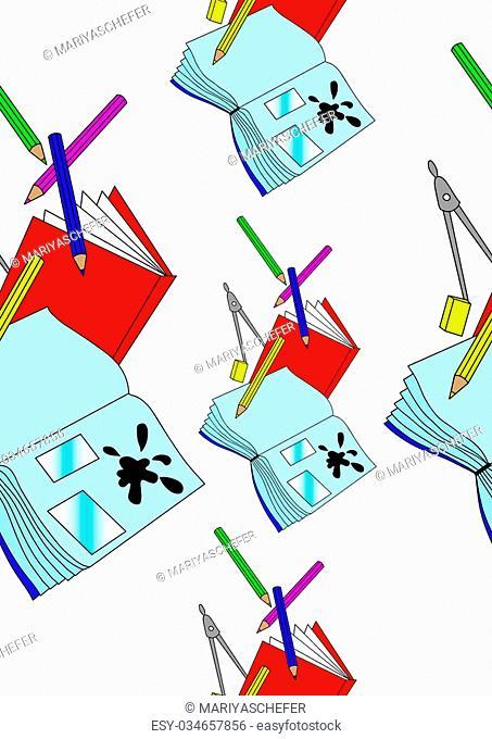 school supplies: notebooks, pencils, eraser, compass