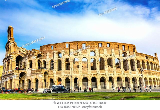 Colosseum Rome Italy. Built by Emperors Vespasian and Titus in 80 AD with sand and concrete largest amphitheater every built. Symbol Imperial Rome