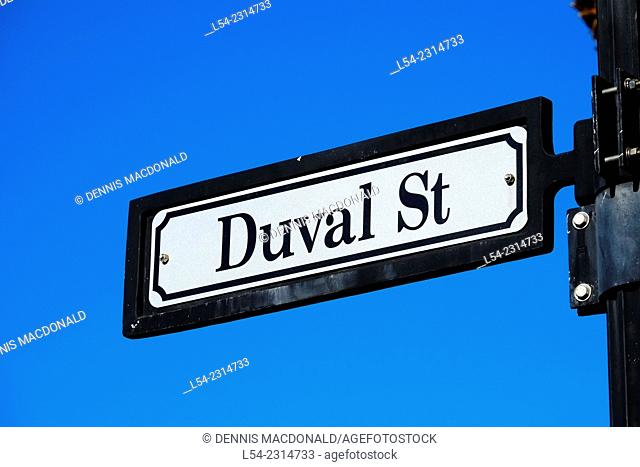 Duval Street Sign (Main Street) Key West Florida FL destination for Western Caribbean Cruise from Tampa