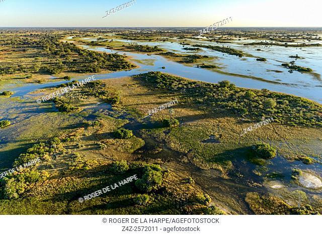 Aerial view of Okavango Delta. Botswana