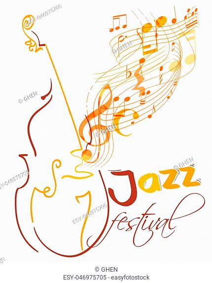jazz festival design with double bass and flying musical lines, g clef and notes. vector