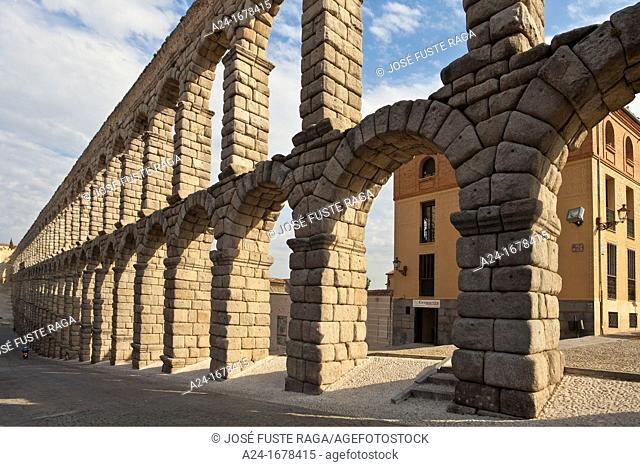 Spain , Castilla Leon Region , Segovia City, the roman built aqueduct W H