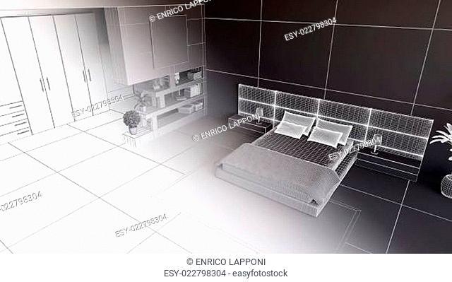 3D render of a bedroom in wireframe